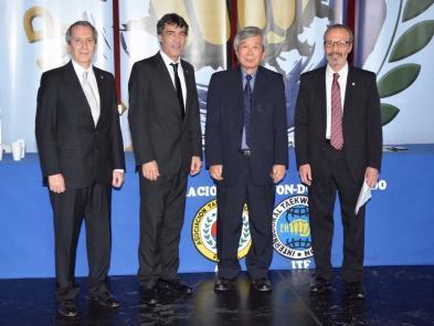 (De izq. a der) SM Horacio Boitano, GM Néstor Galarraga, GM Kim, Han Chan, SM Carlos Composto