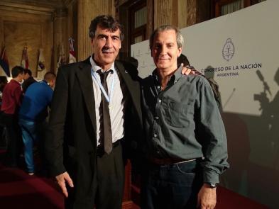 GM Néstor Galarraga, Medalla de Plata y el Maestro Horacio Boitano en el Congreso de la Nación Argentina.