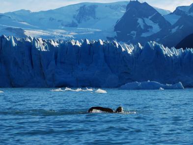 Maria Ines Mato en el Glaciar Perito Moreno